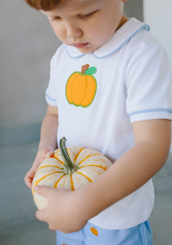 Little English classic children's clothing, Boy's Pumpkin Applique Short Set, traditional children's clothing