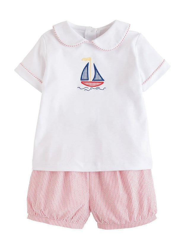 Little English boys sailboat peter pan short set