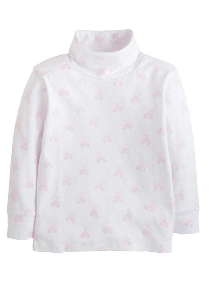 Little English classic girl's pink ballet printed turtleneck, traditional children's clothing