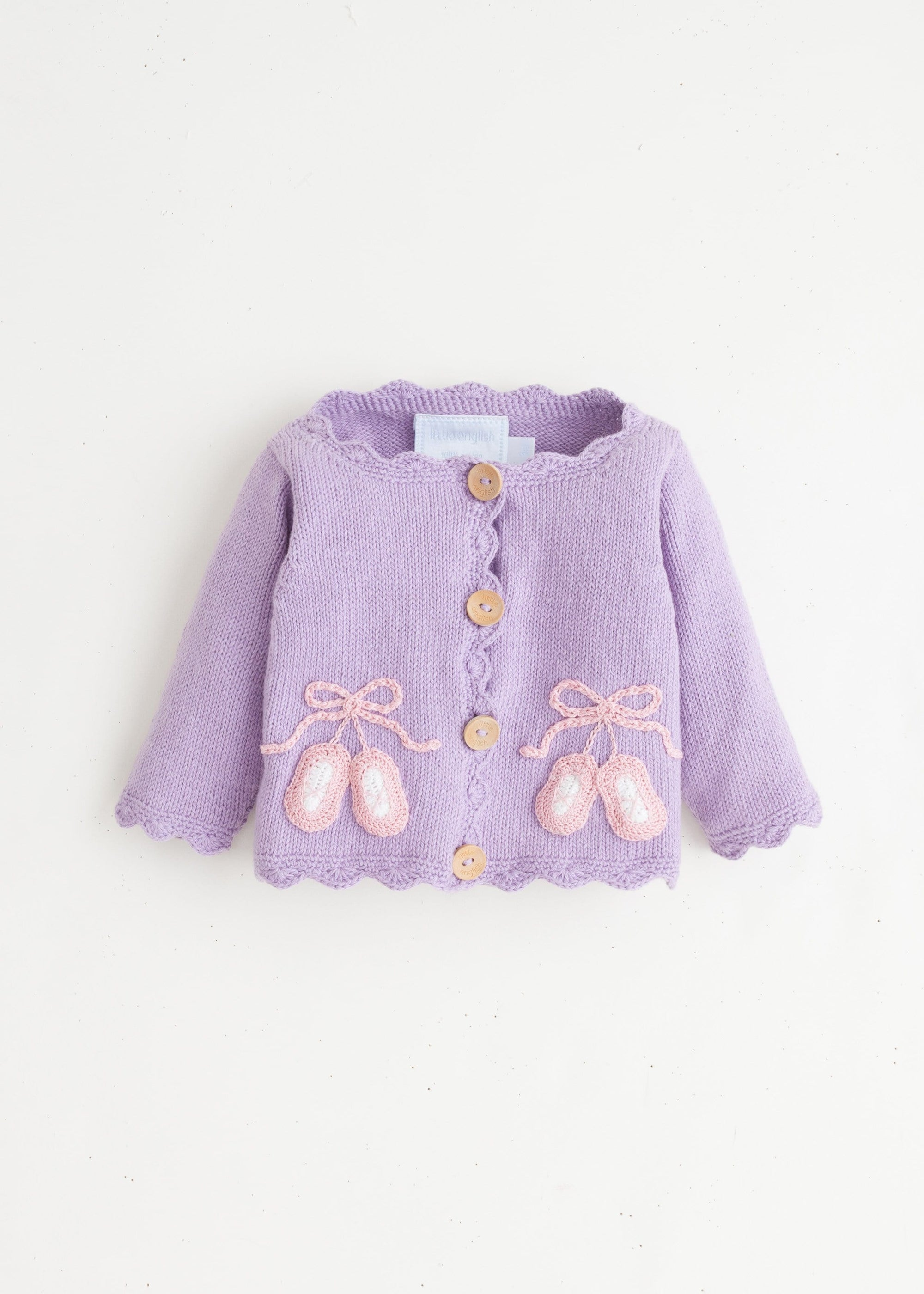 Ballet Slippers Crochet Sweater, Little English, classic children's clothing, preppy children's clothing, traditional children's clothing, classic baby clothing, traditional baby clothing