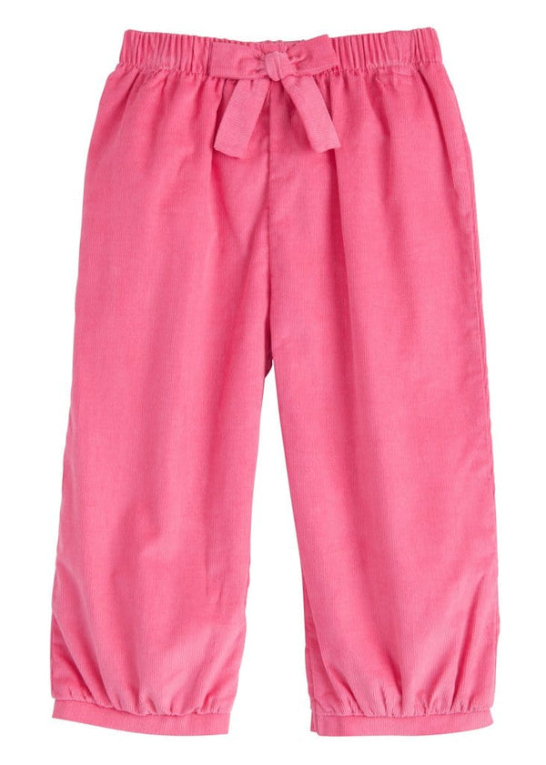 Little English classic girl's hot pink corduroy banded bow pant, traditional children's clothing