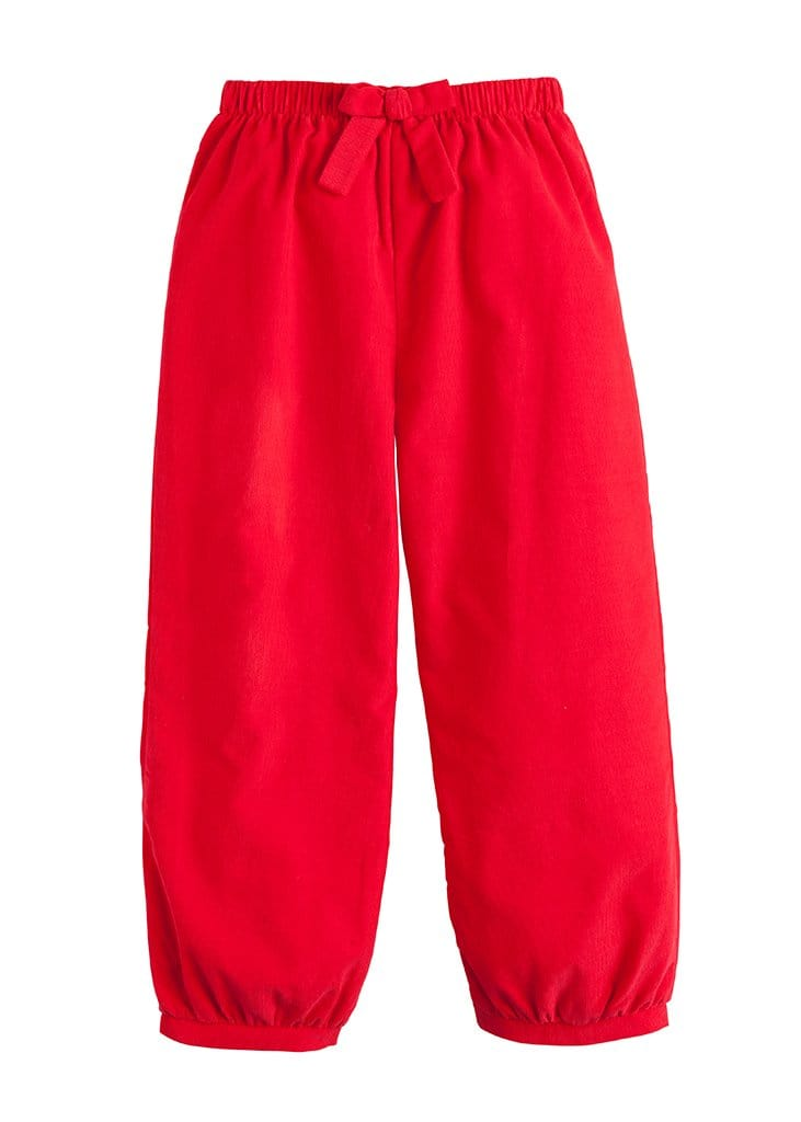 Banded Bow Pants - Red Corduroy, Little English, classic children's clothing, preppy children's clothing, traditional children's clothing, classic baby clothing, traditional baby clothing