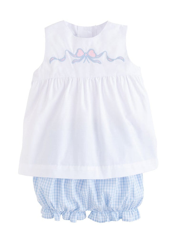 Little English blue and white bow bloomer set