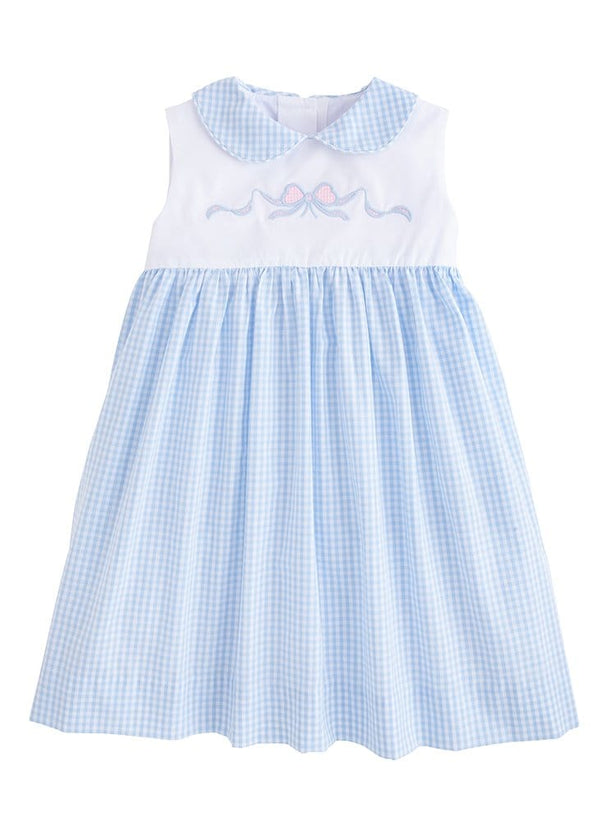 Little English blue and white embroidered bow dress