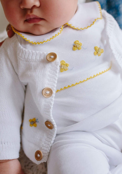 Bee Crochet Playsuit, Little English, classic children's clothing, preppy children's clothing, traditional children's clothing, classic baby clothing, traditional baby clothing