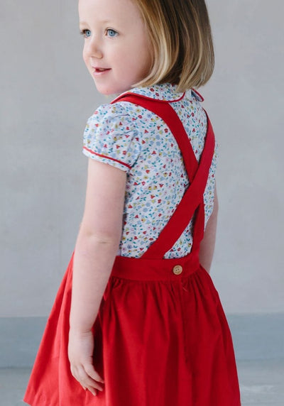 Little English classic children's clothing, girl's red corduroy and floral Bellfield Jumper Set, traditional girl's clothing