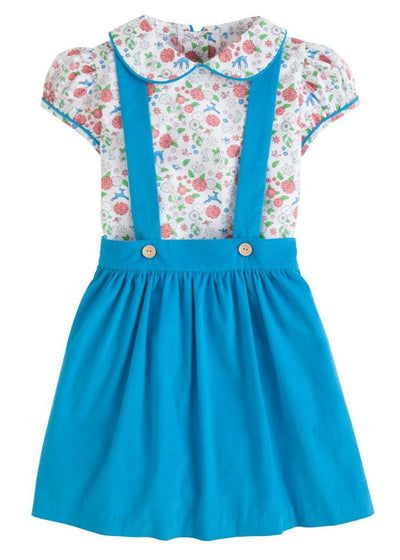 Woodsy Floral Bellfield Jumper Set, Little English traditional children's clothing, girl's turquoise floral jumper set