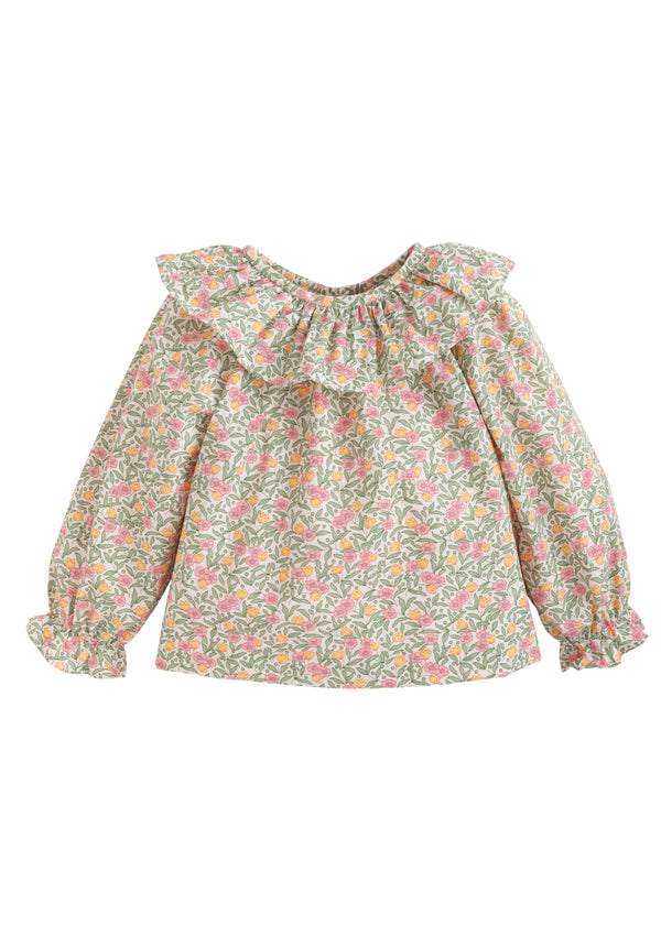 Bespoke Blouse Summer Tree Floral, Little English traditional children's clothing, classic girl's floral blouse