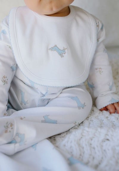 Embroidered Bib - Blue Bunny, Little English, classic children's clothing, preppy children's clothing, traditional children's clothing, classic baby clothing, traditional baby clothing