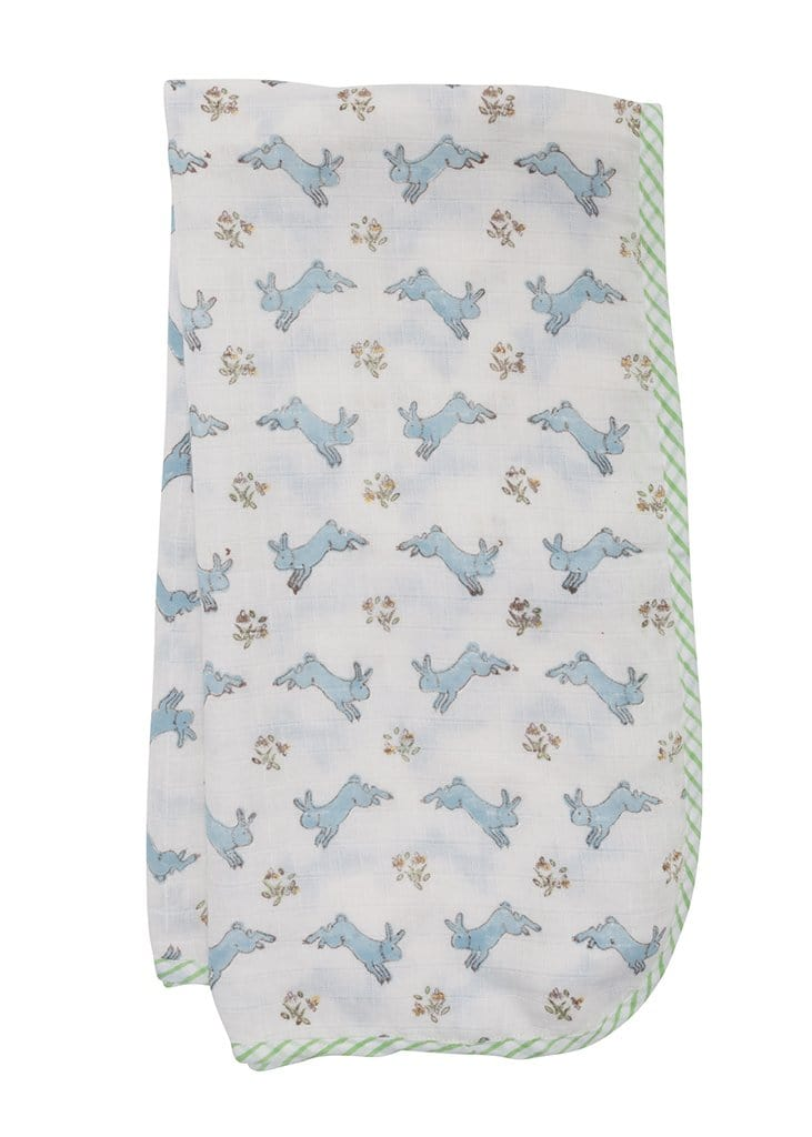 Muslin Swaddle - Blue Bunny, Little English, classic children's clothing, preppy children's clothing, traditional children's clothing, classic baby clothing, traditional baby clothing