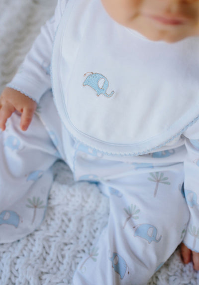 Blue Embroidered Elephant Bib, Little English, classic children's clothing, preppy children's clothing, traditional children's clothing, classic baby clothing, traditional baby clothing