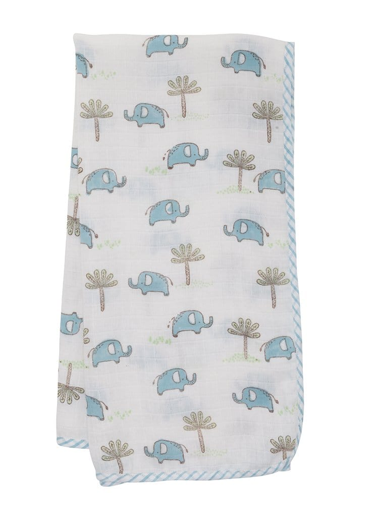 Muslin Swaddle - Blue Elephant, Little English, classic children's clothing, preppy children's clothing, traditional children's clothing, classic baby clothing, traditional baby clothing