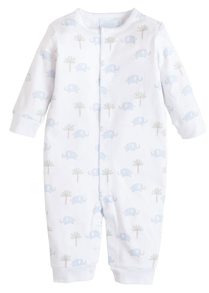 Blue Printed Elephant Romper, Little English, classic children's clothing, preppy children's clothing, traditional children's clothing, classic baby clothing, traditional baby clothing