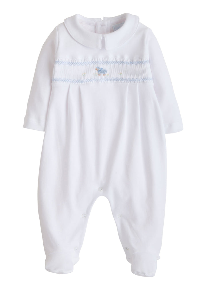 Blue Sheep Footie, Little English, classic children's clothing, preppy children's clothing, traditional children's clothing, classic baby clothing, traditional baby clothing