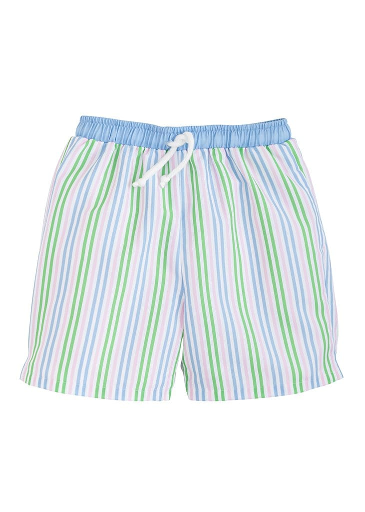 Little English boys striped swim shorts