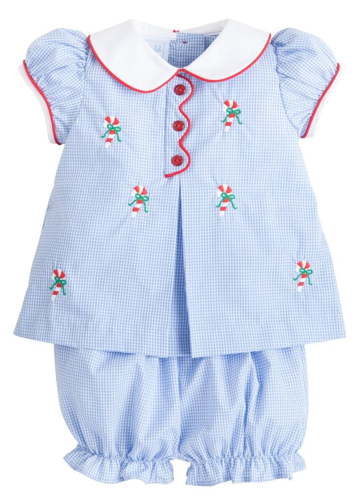 Little English classic girl's candy cane bloomer set, traditional children's clothing