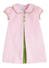 Light Pink Bonnie Dress, Little English Traditional Children's Clothing, girl's classic pink and green corduroy dress