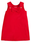 Little English classic girl's bow jumper, red corduroy, traditional children's clothing
