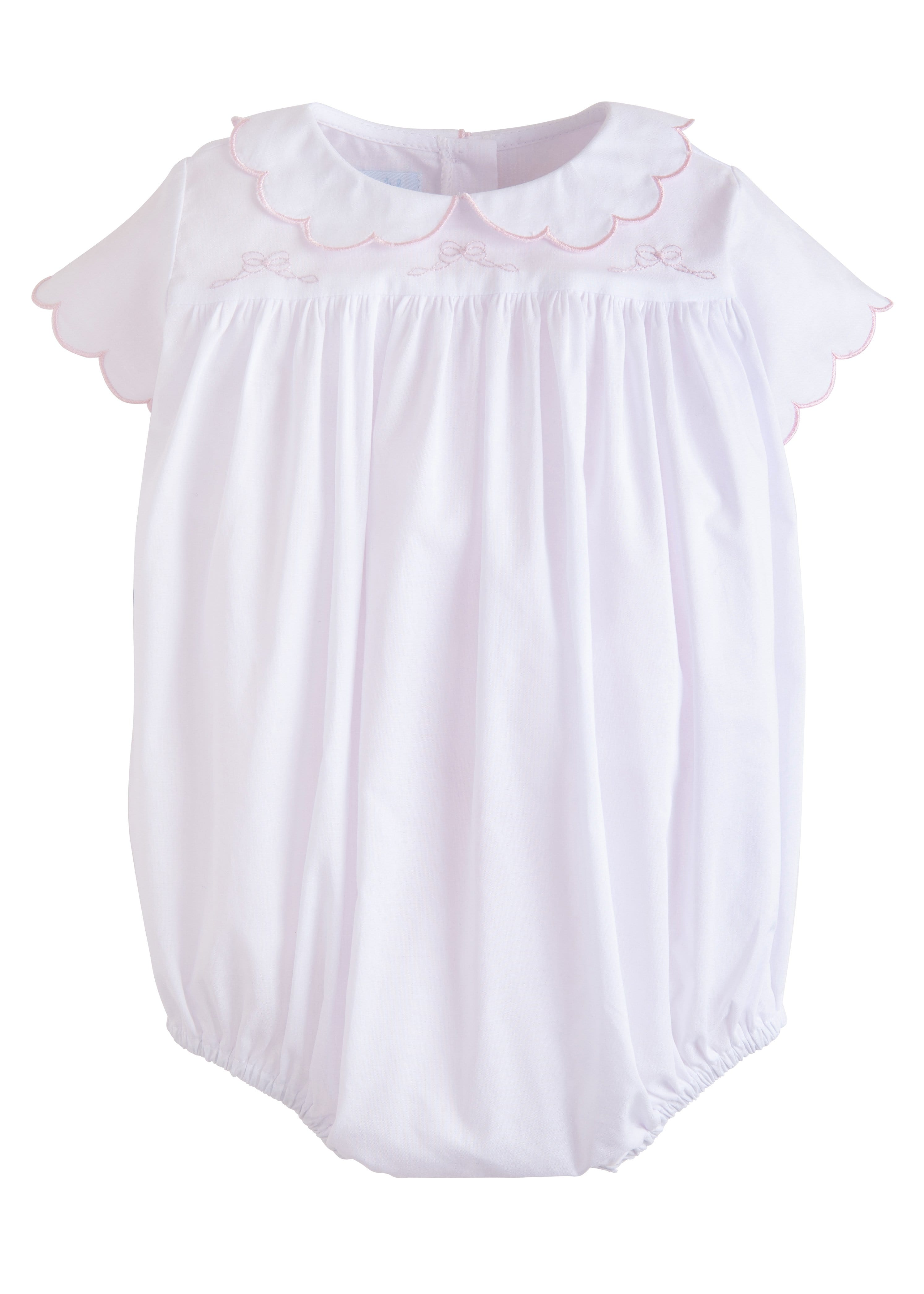 Little English traditional baby gift, girls embroidered bow bubble