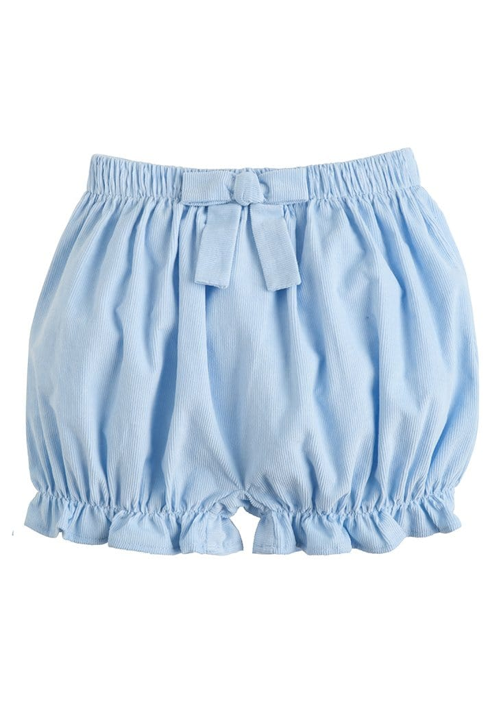 Corduroy Bow Bloomers - Light Blue, Little English, classic children's clothing, preppy children's clothing, traditional children's clothing, classic baby clothing, traditional baby clothing