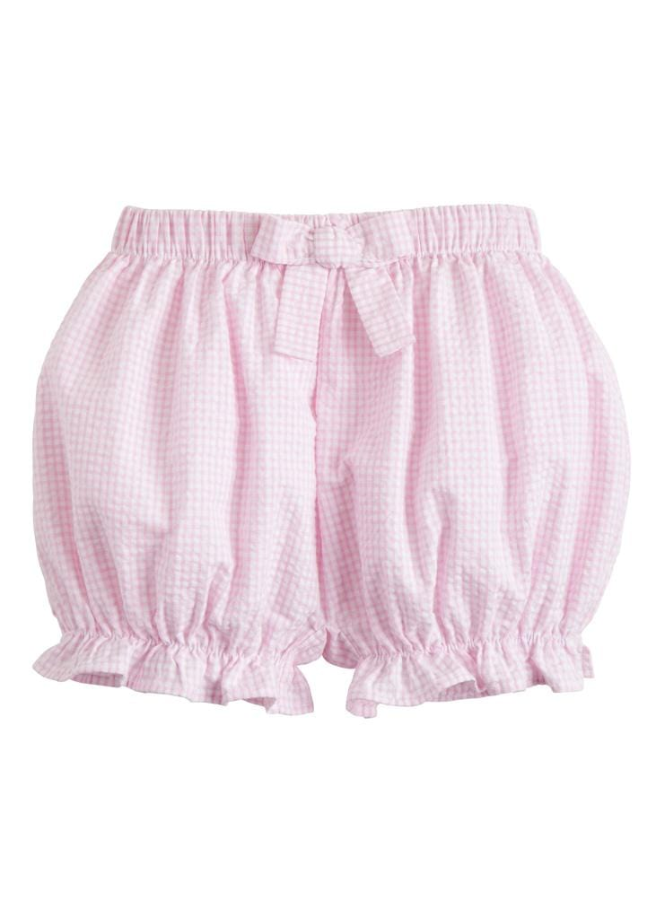 Bow Bloomer - Light Pink Gingham, Little English, classic children's clothing, preppy children's clothing, traditional children's clothing, classic baby clothing, traditional baby clothing