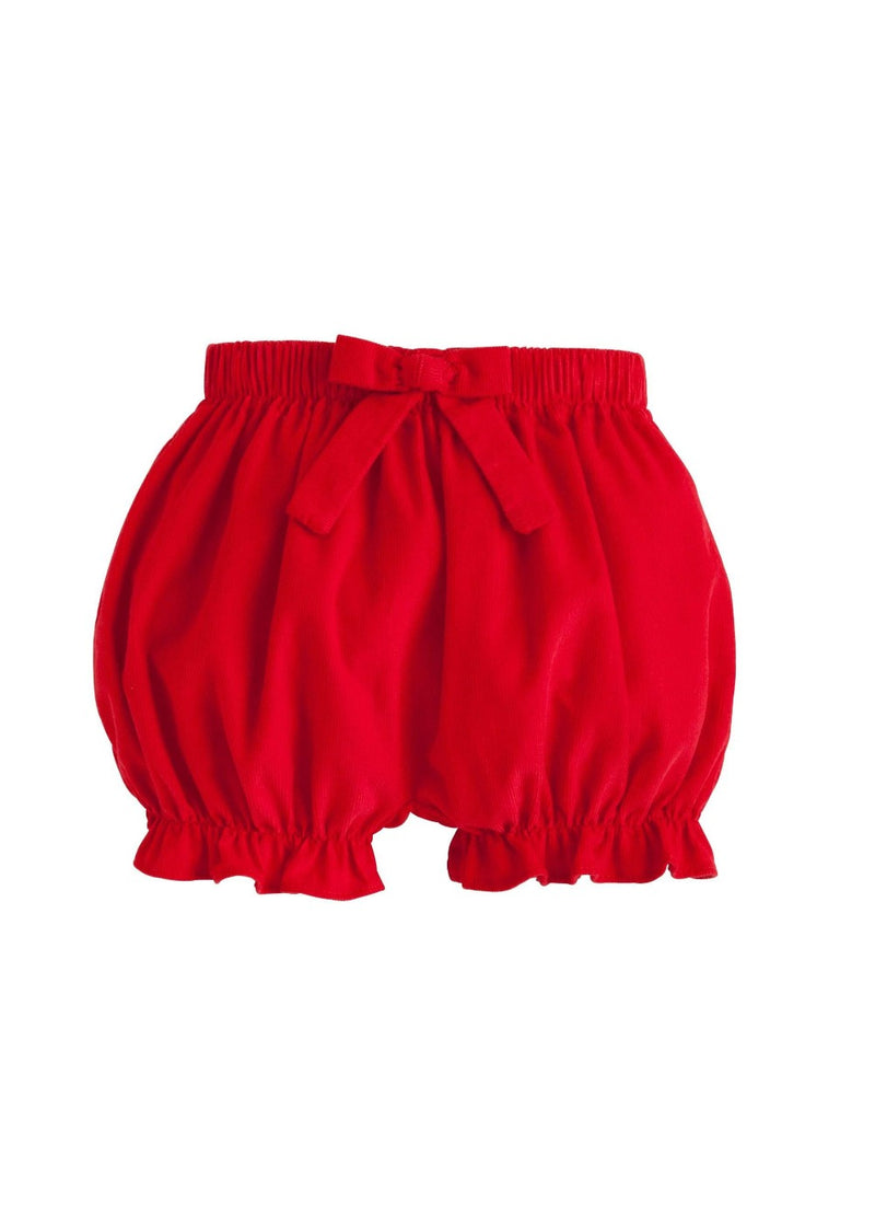 Corduroy Bow Bloomer - Red, Little English, classic children's clothing, preppy children's clothing, traditional children's clothing, classic baby clothing, traditional baby clothing