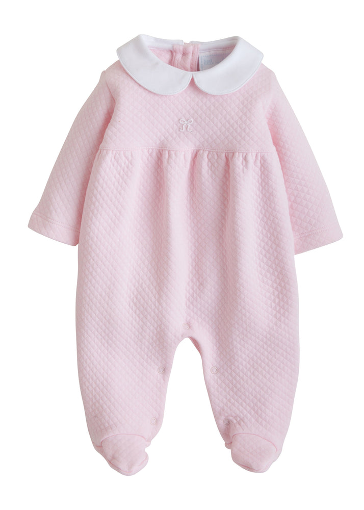 Bow Quilted Footie, Little English, classic children's clothing, preppy children's clothing, traditional children's clothing, classic baby clothing, traditional baby clothing