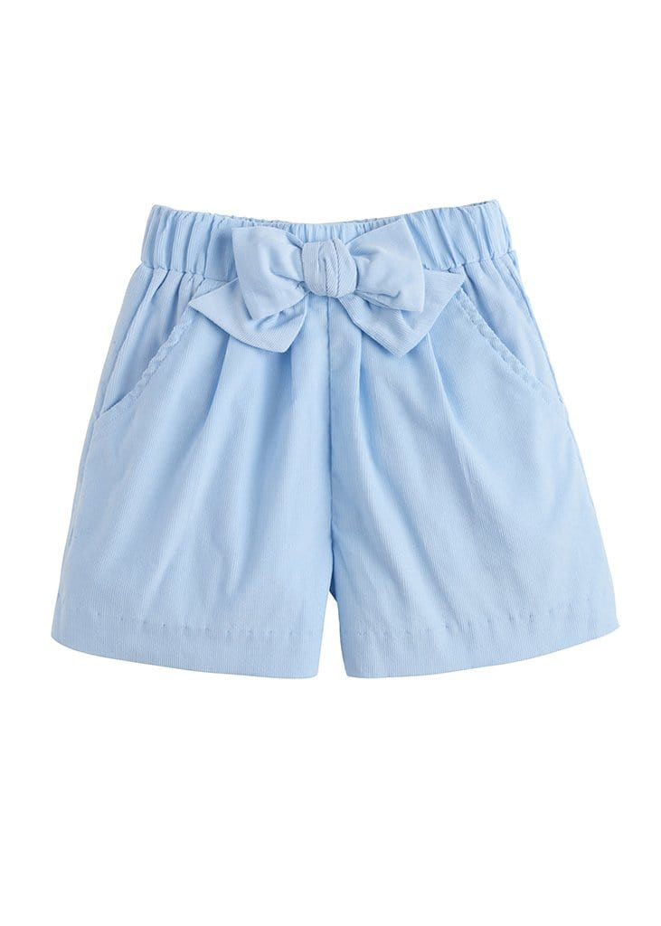 Corduroy Bow Shorts - Light Blue, Little English, classic children's clothing, preppy children's clothing, traditional children's clothing, classic baby clothing, traditional baby clothing