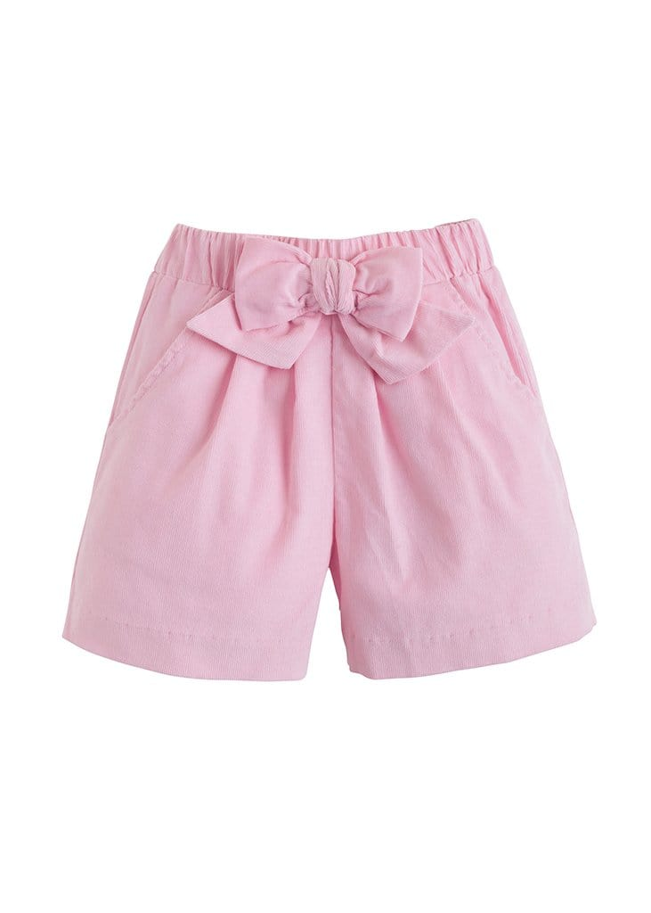 Corduroy Bow Shorts - Light Pink, Little English, classic children's clothing, preppy children's clothing, traditional children's clothing, classic baby clothing, traditional baby clothing