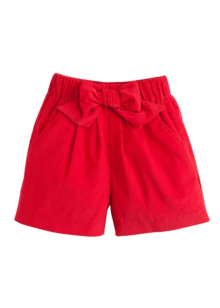 Corduroy Bow Shorts - Red, Little English, classic children's clothing, preppy children's clothing, traditional children's clothing, classic baby clothing, traditional baby clothing