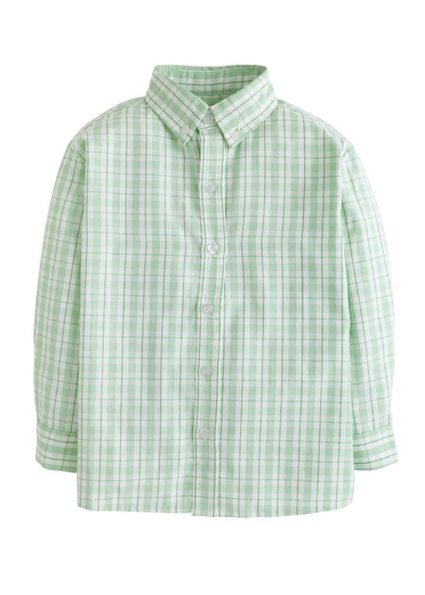 Little English boys classic green plaid button down shirt