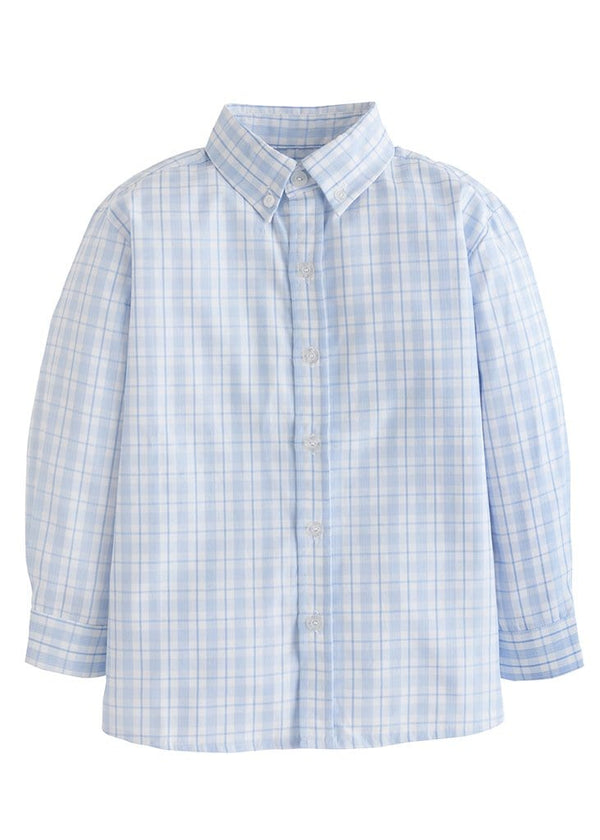 Little English light blue plaid boys classic button down