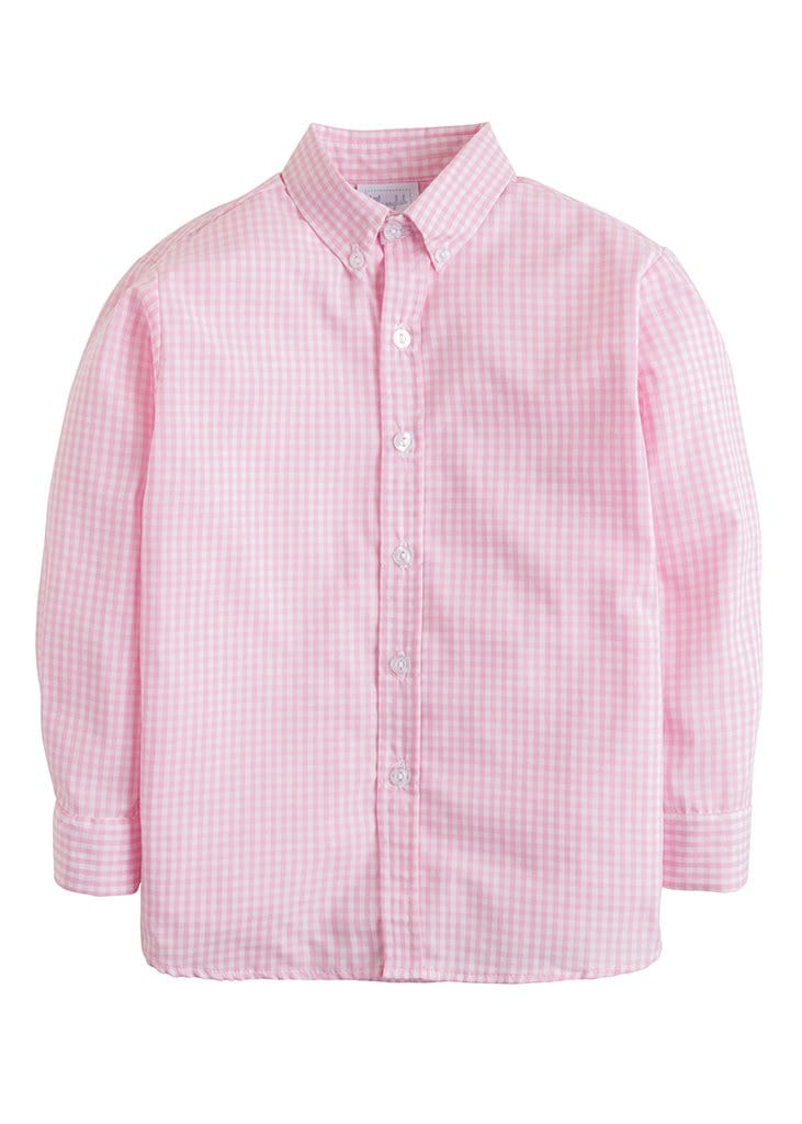 Button Down Shirt - Light Pink Gingham