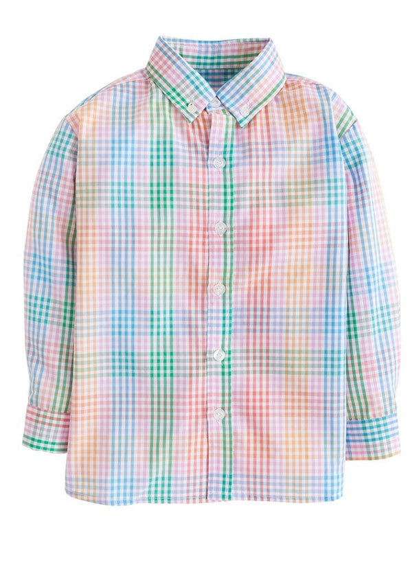 little english boys preppy pink plaid button down shirt