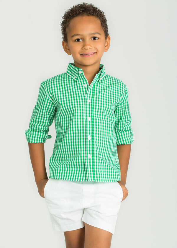 Little English Bows Green Gingham Button Down Shirt