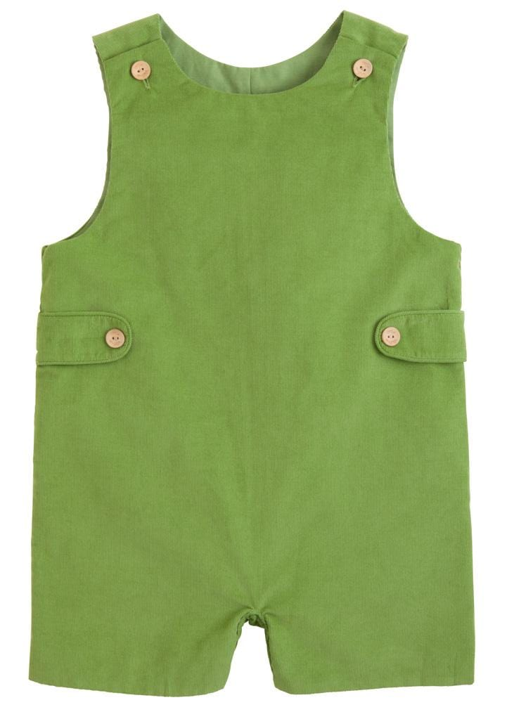 Little English classic boy's sage green corduroy john john, traditional children's clothing