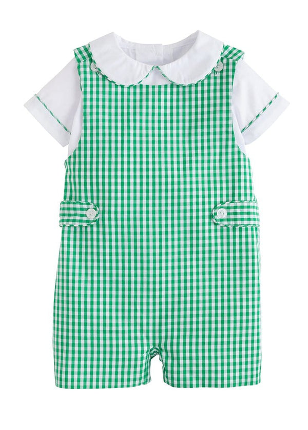 Little English classic boys green gingham john john