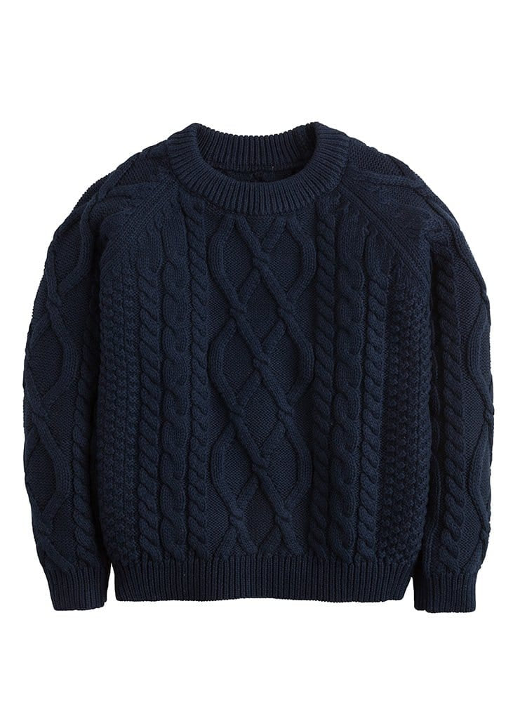 little english boys and girls childrens classic navy cable knit sweater