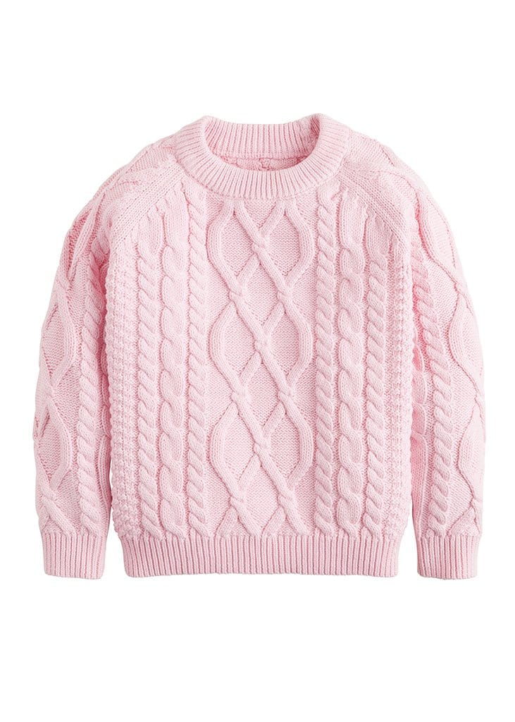little english girls pink cable knit sweater
