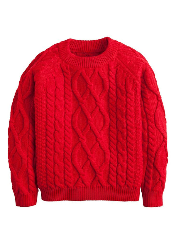 little english boys girls red cable knit sweater