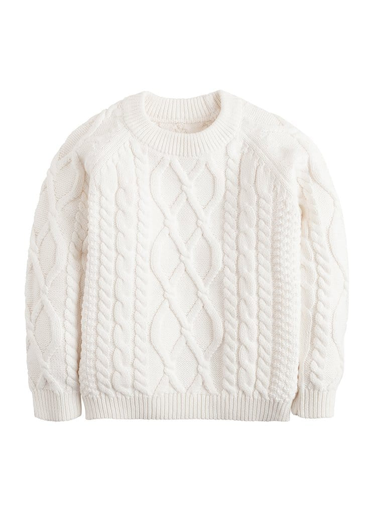 little english classic white cable knit sweater