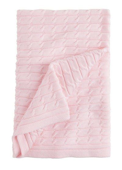 Cable Knit Blanket - Light Pink, Little English, classic children's clothing, preppy children's clothing, traditional children's clothing, classic baby clothing, traditional baby clothing