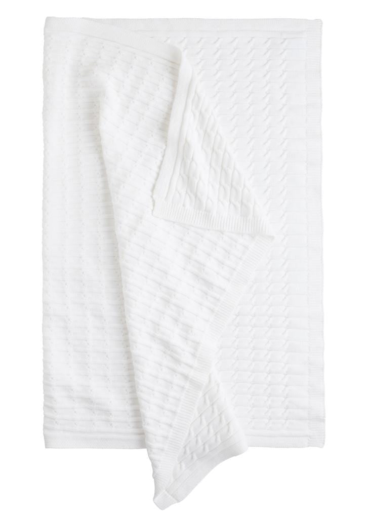Cable Knit Blanket - White, Little English, classic children's clothing, preppy children's clothing, traditional children's clothing, classic baby clothing, traditional baby clothing