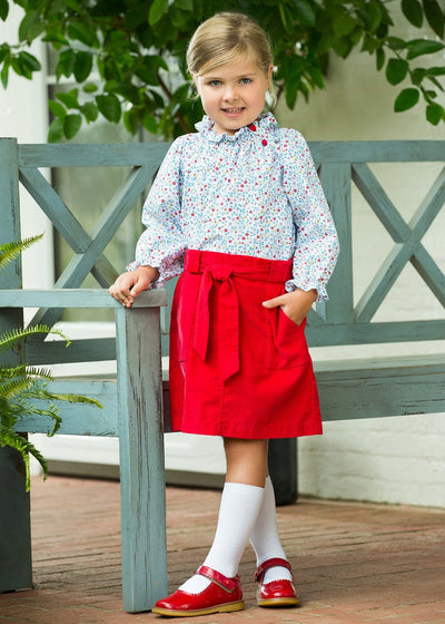Callaway Floral Madison Blouse, Red Bellfield Skirt, Little English traditional children's clothing, girl's floral top and corduroy skirt