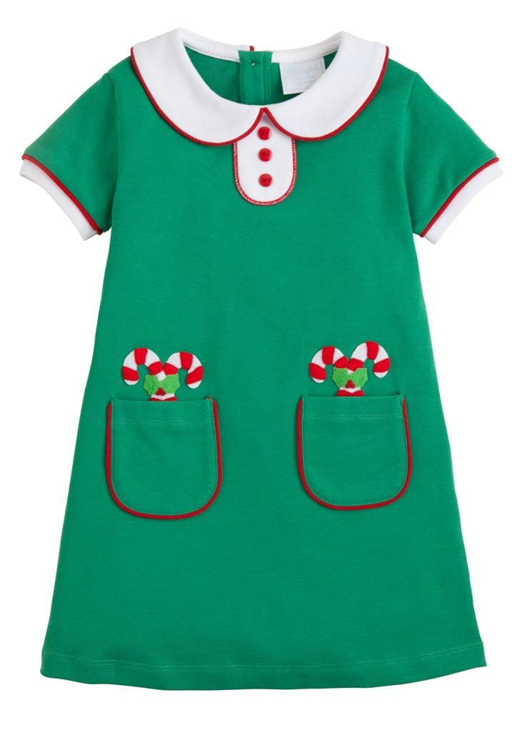 Little English classic girl's green knit dress with candy cane appliques, traditional children's clothing
