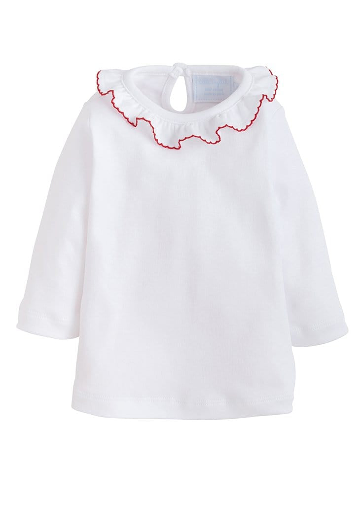 Red Caroline Knit Blouse, Little English Traditional Children's Clothing, Girl's Classic White Knit Ruffled Top