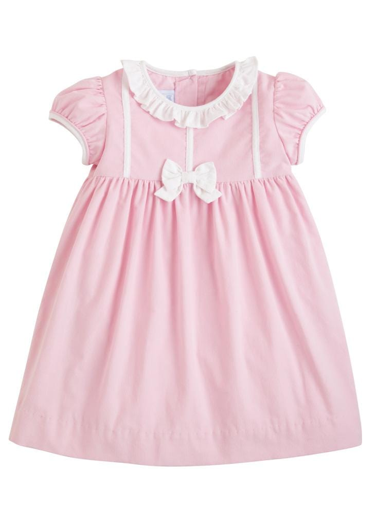 Little English classic girl's light pink corduroy bow dress, traditional children's clothing