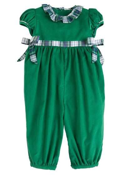 Little English classic girl's green corduroy romper in kentucky tartan, traditional children's clothing