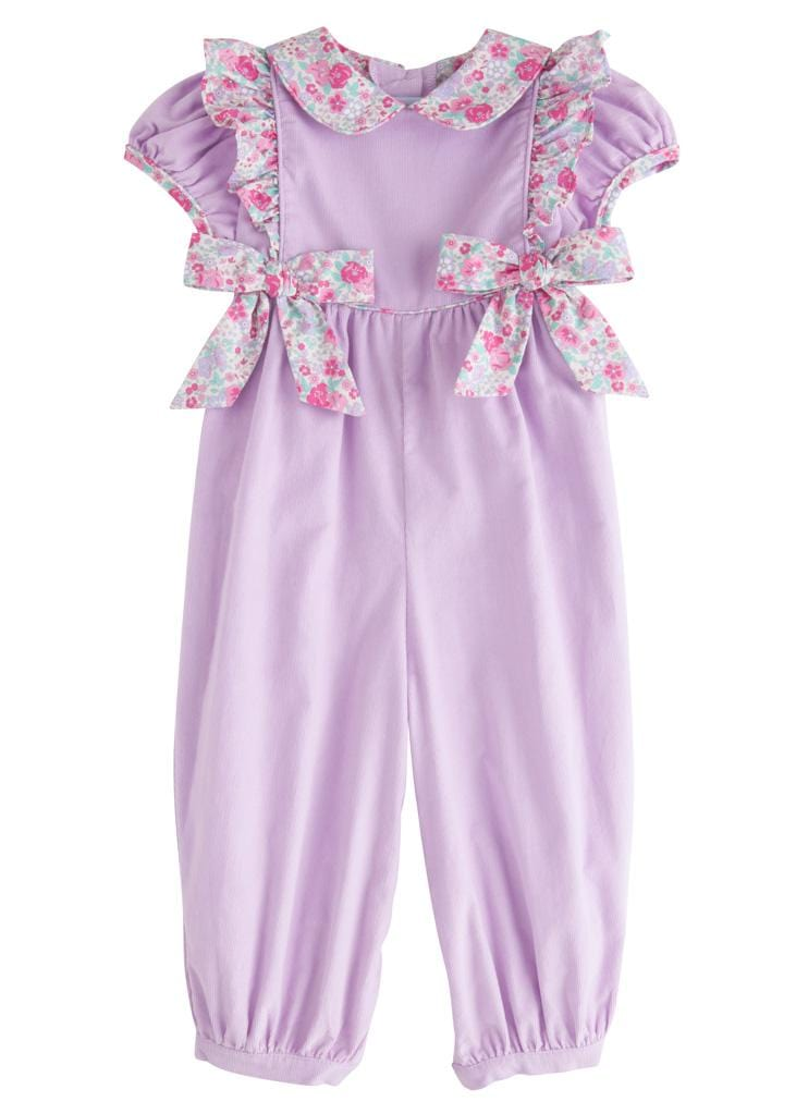 Lavender Caroline Bow Romper, Little English Traditional Children's Clothing, girl's classic floral corduroy romper