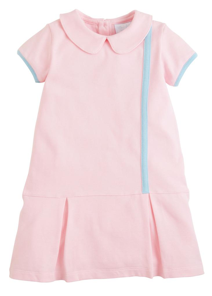 Little English classic girl's light pink knit dress, traditional children's clothing